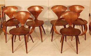 SIX NORMAN CHERNER PLYCRAFT CHAIRS. 2 ARM CHAIR. S