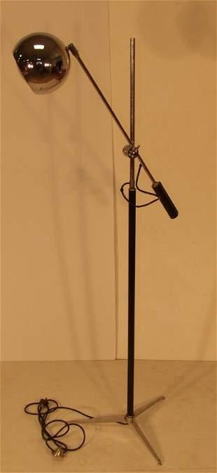 ITALIAN CHROME BALL ADJUSTABLE FLOOR LAMP. Tripod