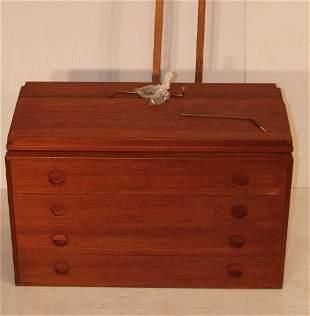 DANISH TEAK WALL HANGING CABINET. Four drawer cabi