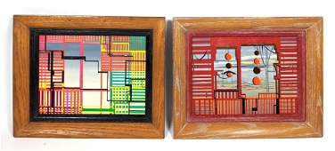 2pcs ROBERT SEMPLE Post Modern Paintings on Board. Surr