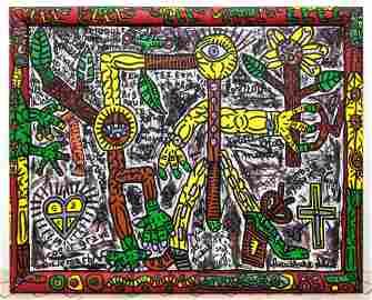 """ROBERT COMBAS 1989 """"Sans Titre"""" Oil Painting on Canvas"""