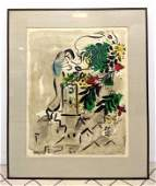 MARC CHAGALL Lithograph Print  Framed under glass