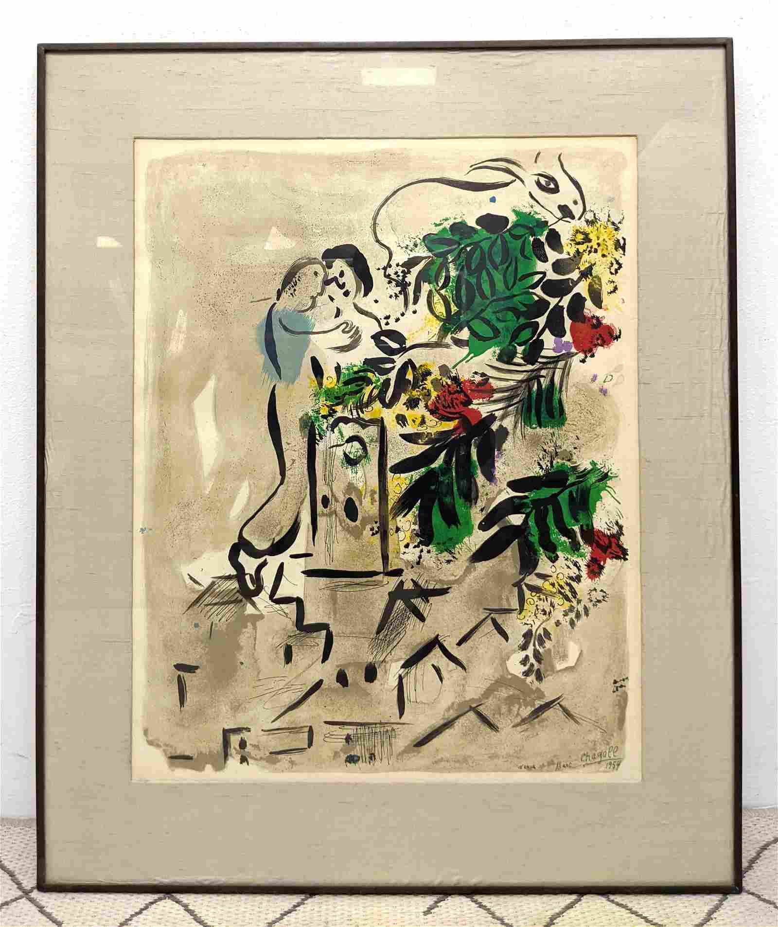 MARC CHAGALL Lithograph Print.  Framed under glass.