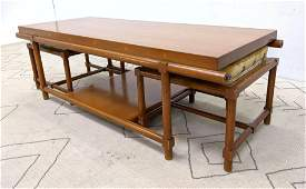 TOMMI PARZINGER COFFEE TABLE WITH STOOLS. Stools have r