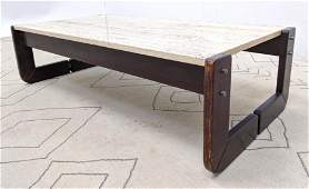 LAFER Rosewood and Travertine Coffee Cocktail Table.