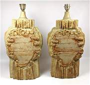 Pair Sculpted Modern Pottery Table Lamps  Capron Style