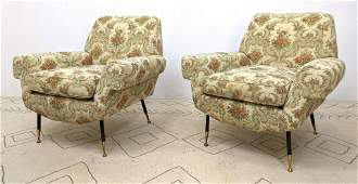 Pr Italian Modern Lounge Chairs. Floral Upholstery. Bro