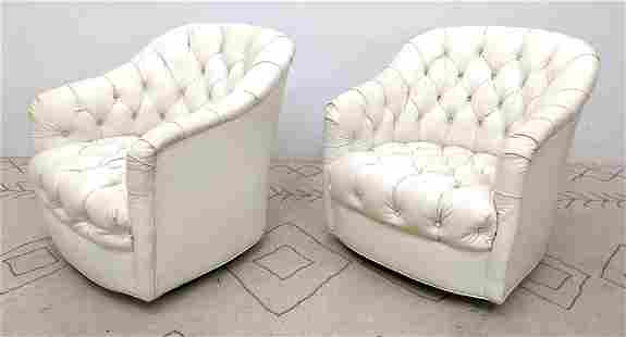 Pr White Tufted Lounge Chairs. Ward Bennett style