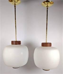 Pr 1960's Italian White Glass and Walnut Pendant lamps.