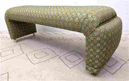 Decorator Long Upholstered Bench with Shaped Ends.