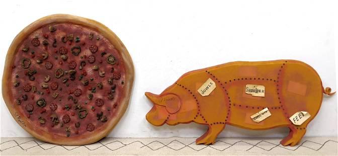 2pcs EL ROSSO Foam Art Sculptures. Pig and Pizza.