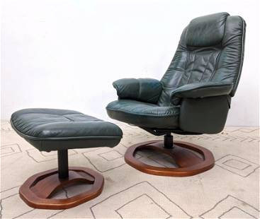 MOBELTEAM Green Leather Lounge Chair and Ottoman.