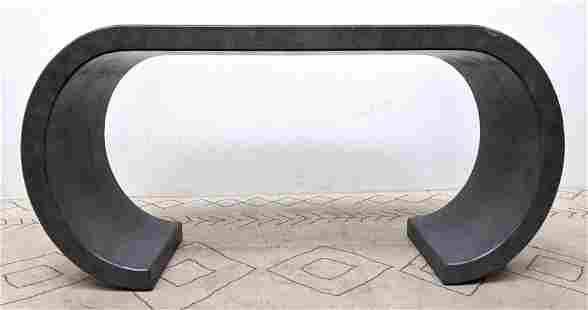 Karl Springer Style Curved Side Console Hall Table. Gr