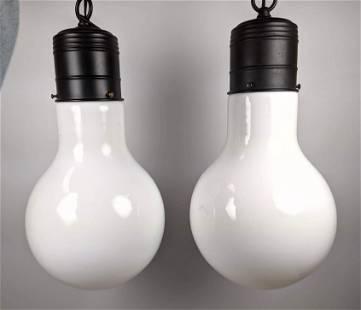 Pair Ingo Maurer Style Oversized Light Bulb Lamp. Chan
