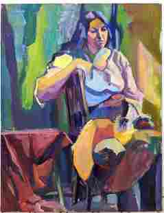 BARBARA YETERIAN Portrait Oil Painting on Canvas. Signe