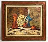 Artist Signed Still Life Oil Painting on Canvas. Bernar