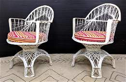 Pair Mid Century Modern Outdoor Lounge Chairs. Woven De