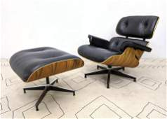 EAMES Style Leather Lounge Chair and Ottoman. Nicely gr