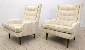 Pair Paul McCobb Style Tall Back Lounge Chairs Tapered