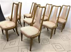 Set 8 Tall Back Decorator Dining Chairs Upholstered T