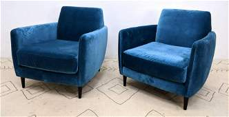Pr CB2 Blue Velvet Contemporary Lounge Chairs. PARLOUR.