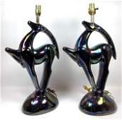 Pair Pottery Gazelle Table Lamps Iridescent Glaze Art