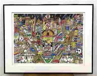 CHARLES FAZZINO Mixed Media 3-D Print. GREAT WHITE WAY.