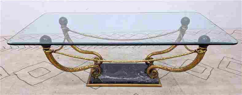 Decorator Gilt Metal and Marble Coffee Cocktail Table w
