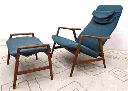 Swedish Modern Teak Lounge Chair and Ottoman. Made in S
