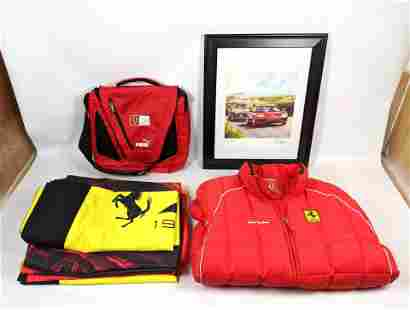 Ferrari Memorabilia. Jacket, Banner Flags, Back Pack, S