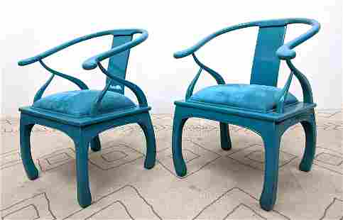 Pair Asian Style decorator Lounge Chairs. Blue Lacquer