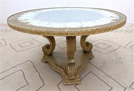 Decorator Eglomise Glass Top Coffee Cocktail Table. Pa