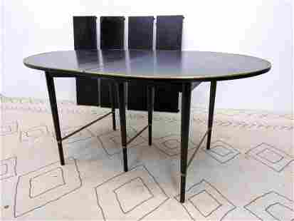 Paul McCobb Brass Bound Dining Table. with 4 Leaves. Ov