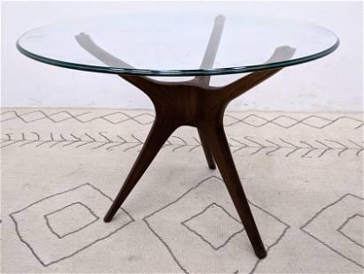 Vladimir KAGAN Tripod Side Table with Glass Top. Unmark