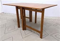Danish Teak Drop Side Dining Table. Modernist. Two 23.5