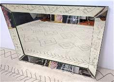Vintage Wall Mirror with Etched Design Frame. Metal Cor