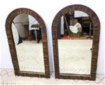 Pair Of Mid Century Modern Arched Top Wall Mirrors. Pa