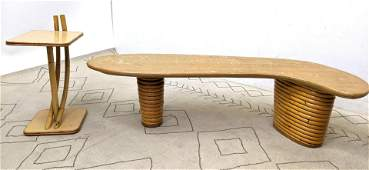 PAUL FRANKL Biomorphic Coffee Cocktail Table and Side