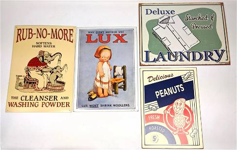 4 contemporary tin advertising signs