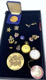 Mixed Lot Medals and Pocket Watches. Some military.