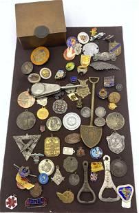 Large Lot Medals Badges, Commemoratives, Pin backs, Bot