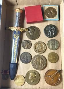 13 Vintage Medal Medallions. Plus Dagger. Most medals b