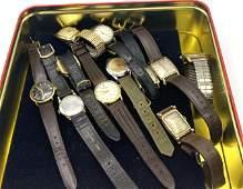 11pcs Vintage Wrist Watches. Wittnauer, HAMILTON, Walth