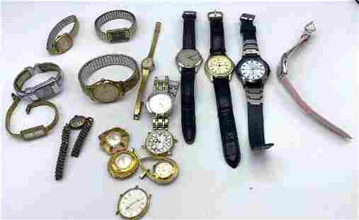 17pcs Vintage Watches. Bulova Accutron, Omega, Stauer,