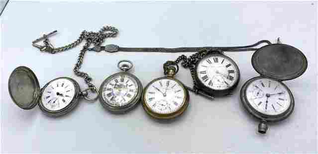 5pcs Antique Pocket watches. Coin silver etc.