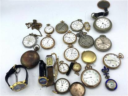 Large Lot Pocket and Wrist Watches. Howard, Ingersoll,