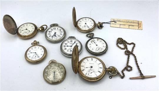 8pcs Antique Pocket Watches. Elgin, Illinois, Howard, W