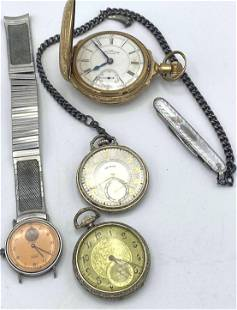 Lot 3 Pocket watches and 1 wrist Watch. WALTHAM, ILLINO