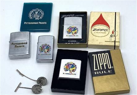 Pittsburgh Paints Lot, Zippo Lighters, Tape Measure, et