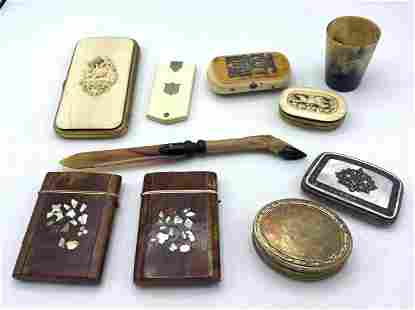 10pcs Antique Objects, Card Boxes, Chatelane Note pad,